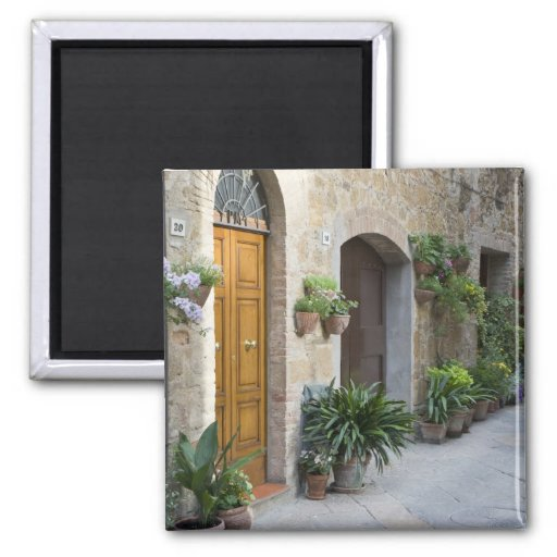Italy, Pienza. Flower pots and potted plants Fridge Magnet
