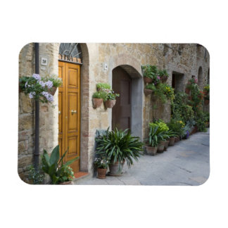 Italy, Pienza. Flower pots and potted plants Magnet