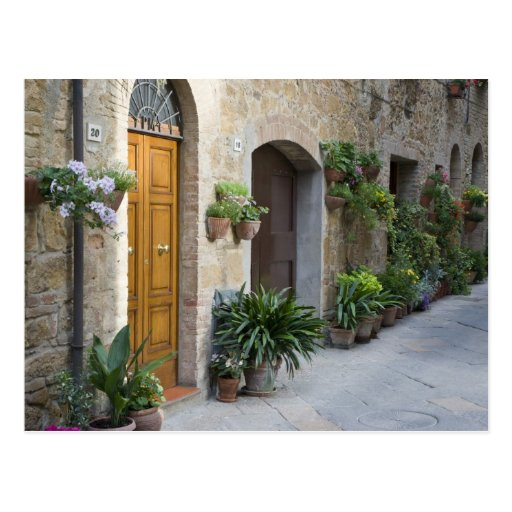 Italy, Pienza. Flower pots and potted plants Postcard