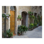 Italy, Pienza. Flower pots and potted plants Print