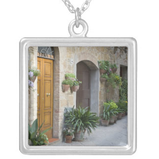 Italy, Pienza. Flower pots and potted plants Silver Plated Necklace