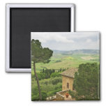 Italy, Pienza. View of the Tuscany 2 Inch Square Magnet
