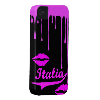 Italy Pink Dip Lips Black iPhone 4/4S Case-Mate iPhone 4 Case