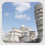 Italy, Pisa. Cathedral, baptistry and Leaning Square Stickers