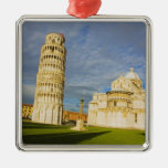 Italy, Pisa, Duomo and Leaning Tower, Pisa, 2 Square Metal Christmas Ornament