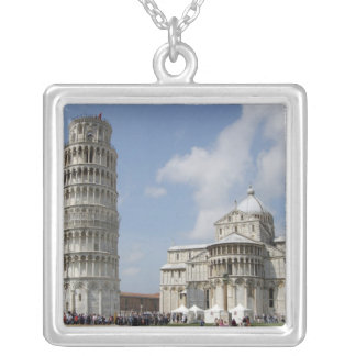 Italy, Pisa. Leaning Tower of Pisa and Silver Plated Necklace
