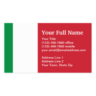 Italy Plain Flag Double-Sided Standard Business Cards (Pack Of 100)