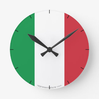 Italy Plain Flag Round Wallclock