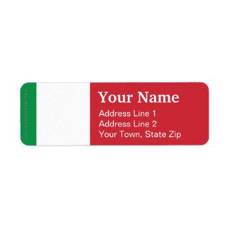 Italy Plain Flag Return Address Label