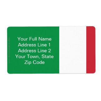 Italy Plain Flag Shipping Label