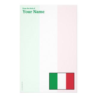 Italy Plain Flag Customized Stationery