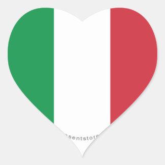 Italy Plain Flag Heart Stickers