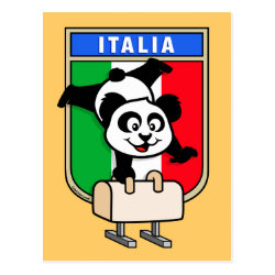 Postcard with Italian Pommel Horse Panda design