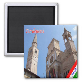 Italy Pordenone Palazzo Comunale Cathedral Tower 2 Inch Square Magnet