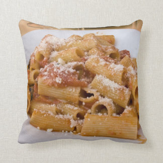 Italy, Positano. Display plate of rigatoni Throw Pillow