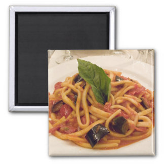 Italy, Positano. Plate of pasta and eggplant. 2 Inch Square Magnet