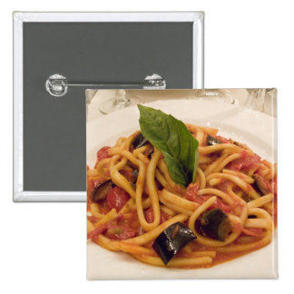 Italy, Positano. Plate of pasta and eggplant. Pinback Button