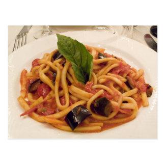 Italy, Positano. Plate of pasta and eggplant. Postcard