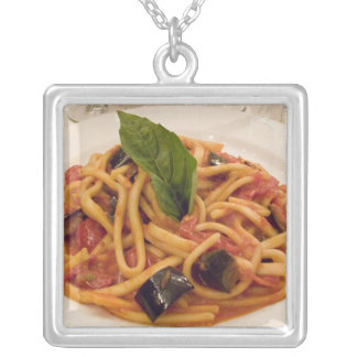 Italy, Positano. Plate of pasta and eggplant. Silver Plated Necklace