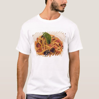 Italy, Positano. Plate of pasta and eggplant. T-Shirt