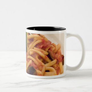 Italy, Positano. Plate of pasta and eggplant. Two-Tone Coffee Mug