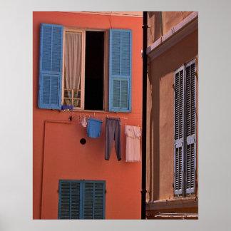Italy Poster: Blue Shutters in Morning Light Print
