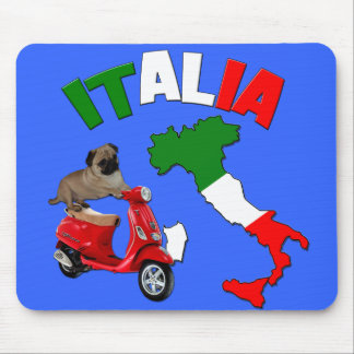 Italy -Pug Scooter- Mousepad