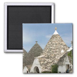 Italy, Puglia, Alberobello, Terra dei Trulli, 2 Inch Square Magnet