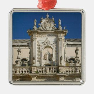Italy, Puglia, Lecce, Piazza del Duomo, Palazzo Square Metal Christmas Ornament
