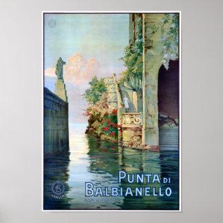 Italy Punta di Balbianello Restored Vintage Poster