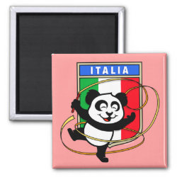 Square Magnet with Italian Rhythmic Gymnastics Panda design