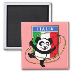 Square Magnet with Italian Rhythmic Gymnastics Panda design