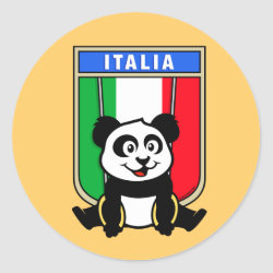 Round Sticker with Italian Rings Panda design