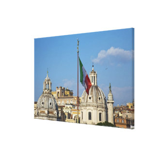 Italy, Rome. Italian flag Canvas Print