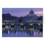 Italy, Rome St. Peter's and Ponte Sant Angelo, Greeting Card
