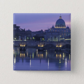 Italy, Rome St. Peter's and Ponte Sant Angelo, Pinback Button