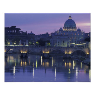Italy, Rome St. Peter's and Ponte Sant Angelo, Poster