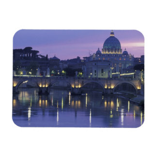 Italy, Rome St. Peter's and Ponte Sant Angelo, Rectangular Photo Magnet