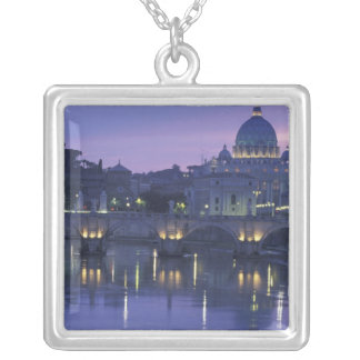 Italy, Rome St. Peter's and Ponte Sant Angelo, Square Pendant Necklace