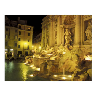 Italy, Rome. Trevi Fountain at night. Postcard