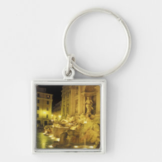 Italy, Rome. Trevi Fountain at night. Silver-Colored Square Keychain