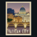 """Italy, Rome - Vatican City Postcard<br><div class=""""desc"""">Anderson Design Group is an award-winning illustration and design firm in Nashville,  Tennessee. Founder Joel Anderson directs a team of talented artists to create original poster art that looks like classic vintage advertising prints from the 1920s to the 1960s.</div>"""