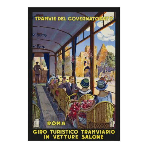 Italy Rome Vintage Travel Poster Restored