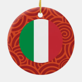 Italy round flag Double-Sided ceramic round christmas ornament