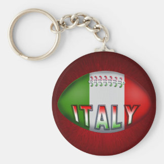 Italy Rugby Ball Basic Round Button Keychain