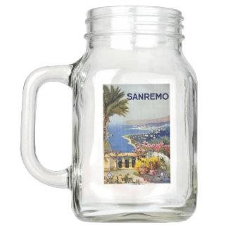 Italy Sanremo vintage travel Mason jar