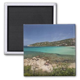Italy, Sardinia, Baja Sardinia. Resort beach. 2 Inch Square Magnet