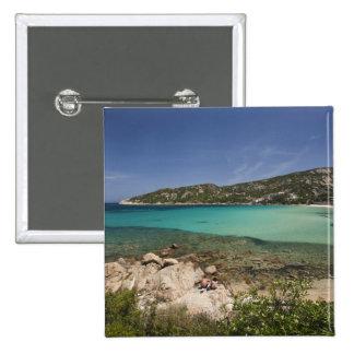 Italy, Sardinia, Baja Sardinia. Resort beach. Pinback Button