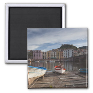 Italy, Sardinia, Bosa. Temo River and Ponte 2 Inch Square Magnet