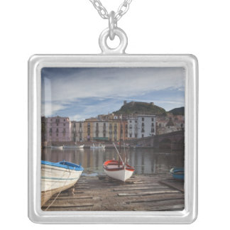 Italy, Sardinia, Bosa. Temo River and Ponte Silver Plated Necklace